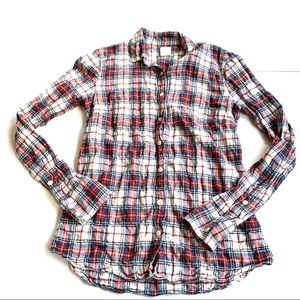 J crew the perfect tee plaid shirt flannel size 2